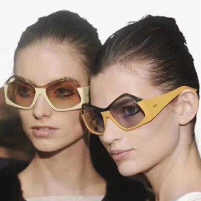Two Tone Funky Sunglasses Wacky Odd Shape Frame Hippie Eyewear Fashion Shades