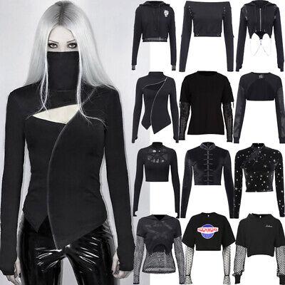 Gothic Punk Halloween Long Sleeves Crop Tops Hoodie Sweatshirt Pullover T-Shirt