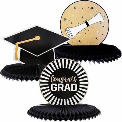 Juvale 3-Pack Black and Gold Graduation Centerpieces, Table Decor, 3 Designs