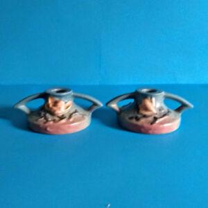 Pair Deco Era Roseville Pottery Magnolia Candle Holders