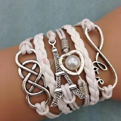 Infinity Eiffel Tower (Infinity LOVE Heart Eiffel Tower Friendship Leather Charm Bracelet Durable)