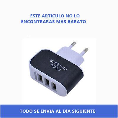 CARGADOR PARED ENCHUFE CASA 2A TRIPLE 3 PUERTOS USB BLANCO MOVIL SAMSUNG...