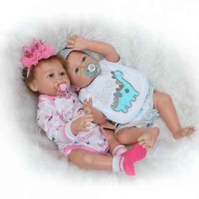 "Full Body Silicone Reborn Baby Dolls Anatomically Correct Twins 20"" Boy + Girl"