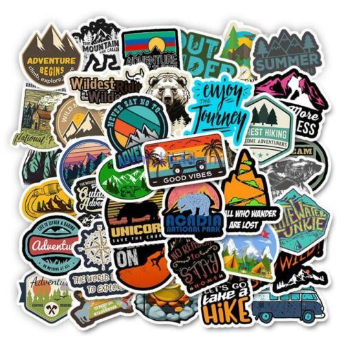 Home Decoration - 50 Pcs Camping Travel Stickers Wilderness Adventure Landscape Waterproof Sticker