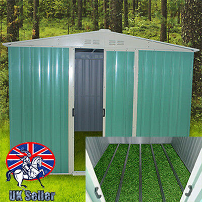 Panana Green Garden Shed Metal Apex Roof Outdoor Storage With Free Foundation