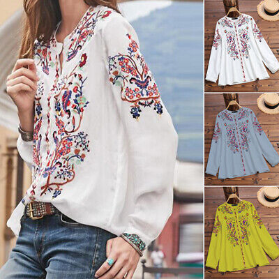 US STOCK Womens V Neck Embroidery Crochet Tops Casual Loose Shirt Blouse Plus ()