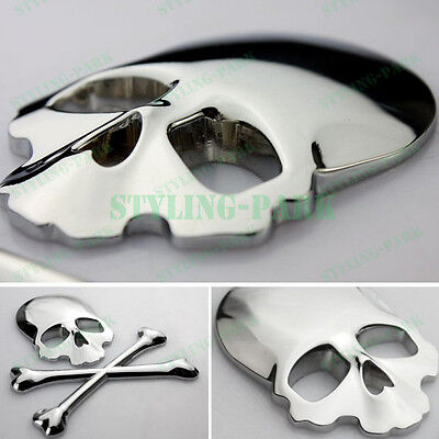 Alloy Skull Cross Bones Skeleton Metal Chrome Silver Emblem Badge Decal Sticker