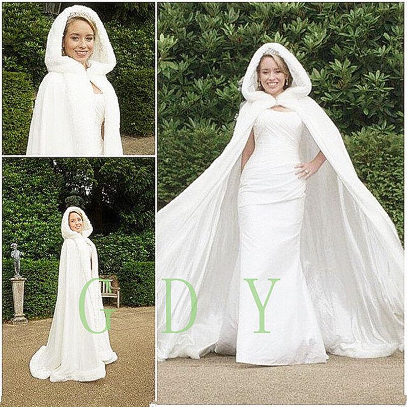NEW Bridal Winter Wedding Hooded Cloak Cape Faux Fur Bridal Mantles Wraps Jacke