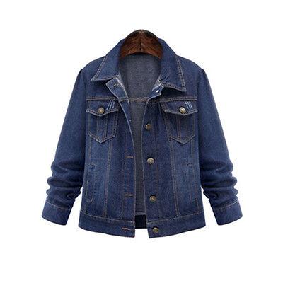 PLUS XL-5XL New Womens Denim Jacket Ladies Fall Causal Jean Long Sleeve Coat