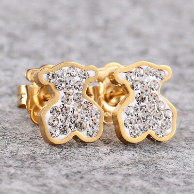 14k Gold Bear Earrings (Cute Bear Earrings Crystal 14k Gold Woman Charm Jewelry Gift )