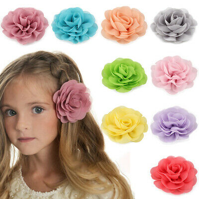 Hot Chiffon Flower Hair Clips Cute Big Flowers Girl Kids Gift Hairgrips Headwear (Hair Flower Clips)