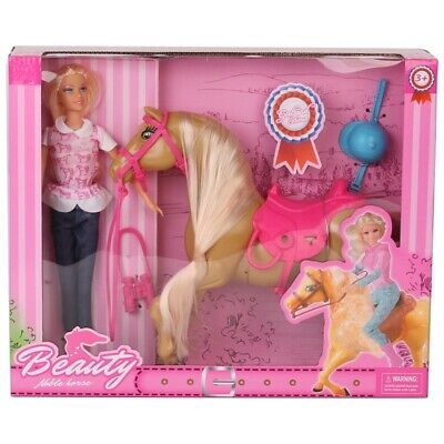 Doll & Horse Playset, Blonde Hair with Riding Accessories NEW