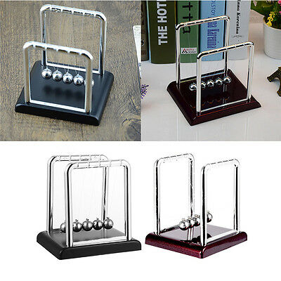 Newton Cradle Steel Balance Ball Science Desk Toy Plastic Base Officehome Decor