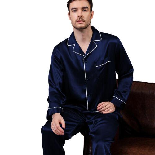 Mens Silk Satin Pajamas - PJ Set Top and Bottom - Navy White Piping