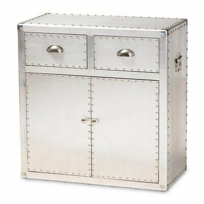 serge silver metal 2 door accent storage