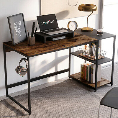 Rustic Computer Desk Home Office Gaming Pc Study Table Workstation With Shelves