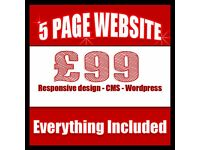 Responsive Website up to 5 pages, Professional bespoke web design, web hosting , SEO , Online