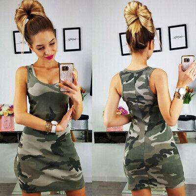 Damen Camouflage Strandkleid Träger Top Sommerkleid Minikleid Ärmellos (Damen Kleider)