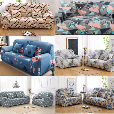 4 Seaters Floral Modern Stretch Slipcover Home Sofa Cover Anti-dirt Washable US ()