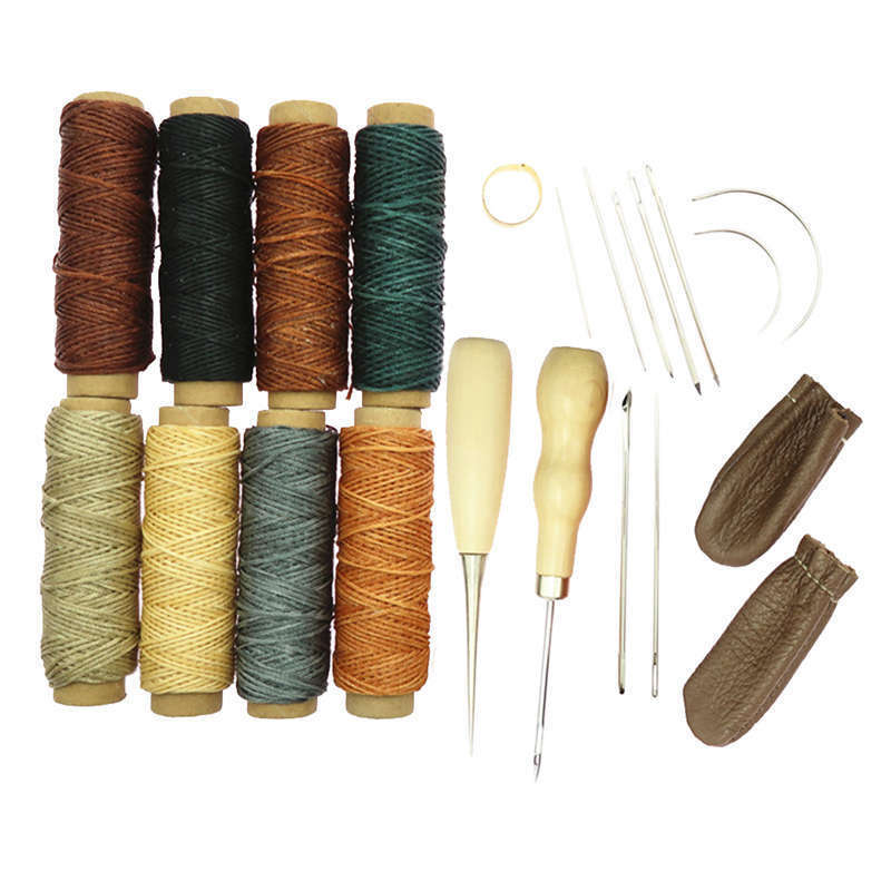 DIY Leather Craft Hand Sew Sewing Tools Awl Wax Thread Thimble Kit 22Piece/Set