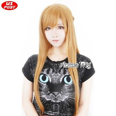 Light Brown 80CM Long Wavy Anime Cosplay Wig - Light Brown Wigs