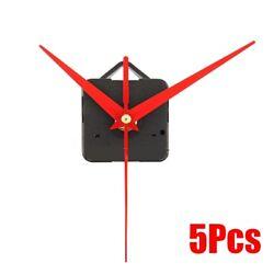 5Pcs Red Hands Spindle Wall Quartz Clock Movement Mechanism Repair Kits DIY Gift