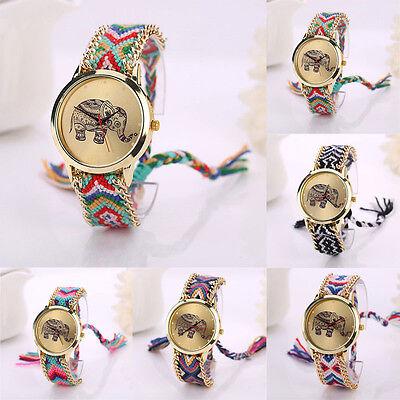Women Elephant Pattern Dial Bracelet Quartz Watch Weaved Rope Band Wristwatch