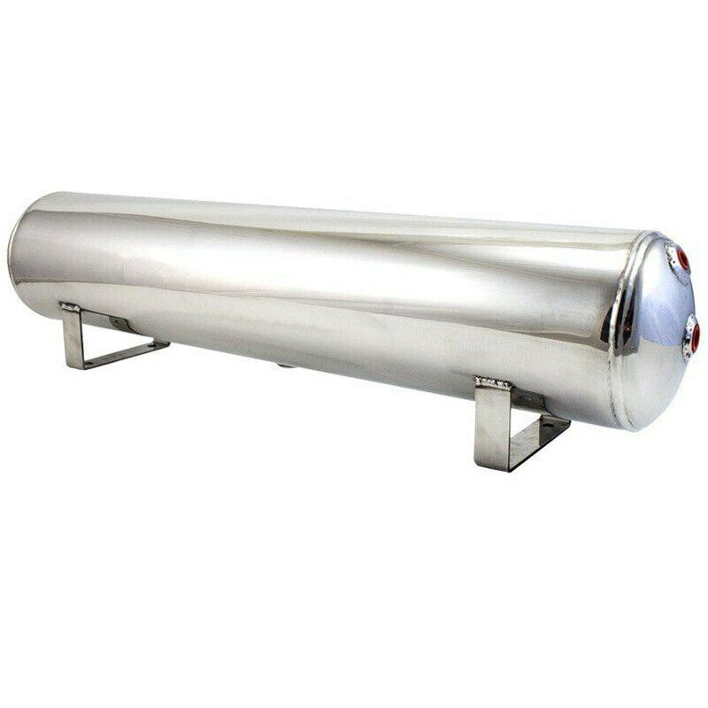 5 Gallon Polished Stainless Steel 8-Port Air Reservoir Tank