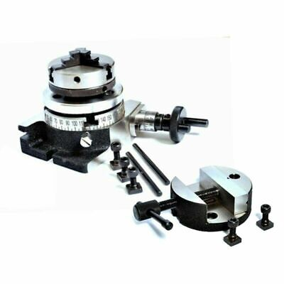 Rotary Table 80 Mm 4 Slot With 50 Mm Mini Lathe Chuck And Rotary Vice 3 Inch