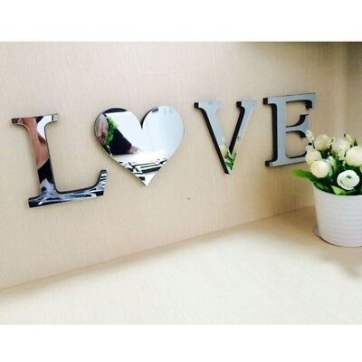 Home Decoration - Mirror Wall Sticker Love/Home Letters Wall Decor DIY Art Mural 3D Acrylic Silver