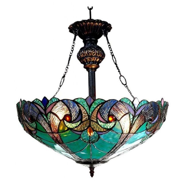dining room light fixture tiffany style stained glass ceiling hanging pendant - Dining Room Light Fixture Glass