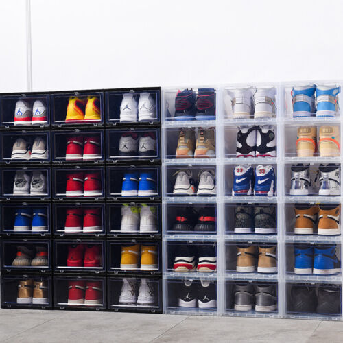 6-12 Clear Magnetic Drop Front Shoe Box Sneaker Rack Storage Organizer Stackable