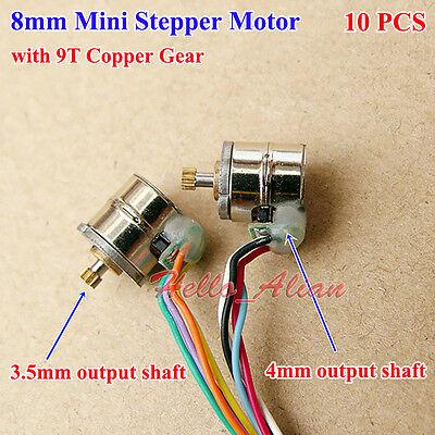 10pcs 2-phase 4-wire Micro Mini 8mm Precision Stepper Motor Metal Copper Gear