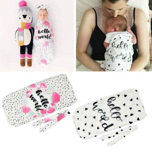 Newborn Baby Girl Boy Swaddle Wrap Blanket Sleeping Bag+Head