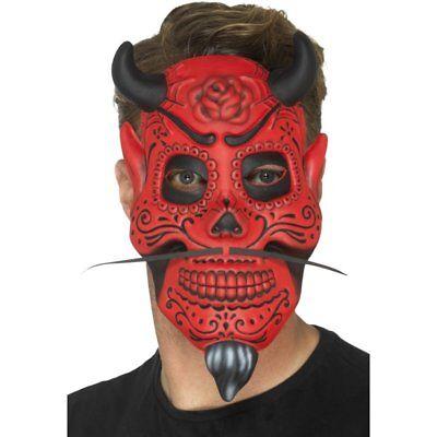 Day Of The Dead Devil Mask Moustache Horns Halloween Horror Tattoo Punk Goth (Dead Devil Halloween)
