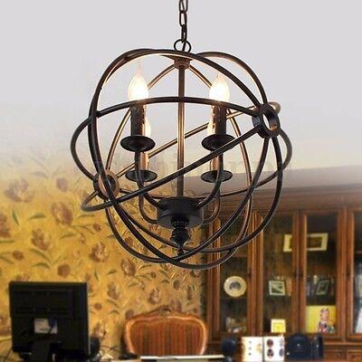 Chandelier 5 Light Orb Sphere Hanging Ceiling Pendant Globe Oil Rubbed Bronze US