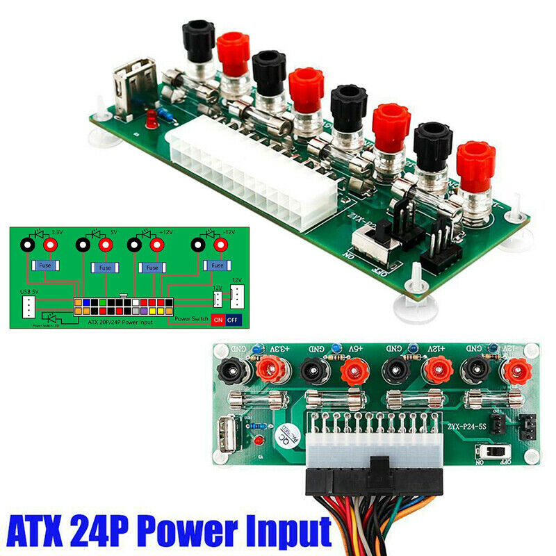 20/24Pin ATX Benchtop Board Computer PC Power Supply Breakou