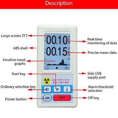 Gm Tube Geiger Counter Nuclear Radiation Detector Dosimeter Marble Meter Tester