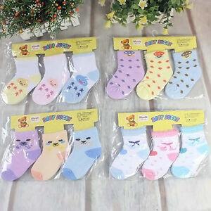 3 Pairs Newborn Baby Kids Girl boy Unisex Cotton Socks Toddler Shoes
