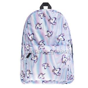 Multi Colour Unicorn Rainbow Bag Fantasy Backpack Rucksack School Student Travel