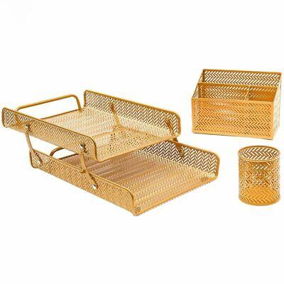 3 Pcs Metal Desk Organizer Accessories Set For Home Office School Gold Chevron