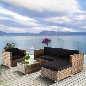 trendy outdoor furniture. 6PC Outdoor Modern Patio Rattan Wicker Sofa Furniture Sectional Set Cushioned Trendy