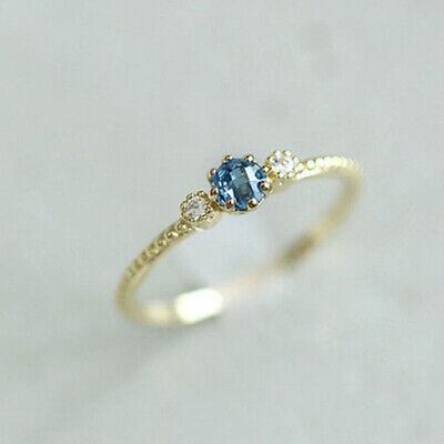 Blue Wedding Engagement Bridal Gift Silver/18K Gold Filled Ring Sz 5 6 7 8 9 (Engagement Bridal Wedding Ring)