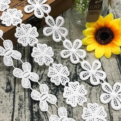 5 Yards Petal Flower Embroidery Lace Edge Trim Applique Sewing Wedding Crafts