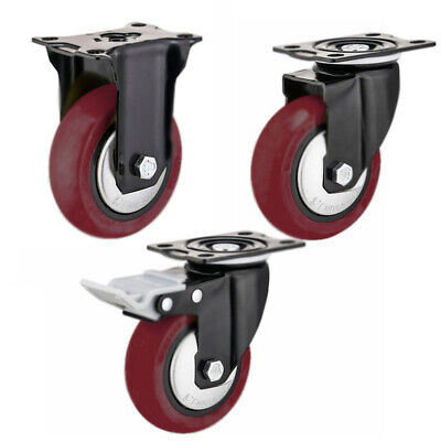 Rd Heavy Duty Swivel Plate Casters 3 4 5 Polyurethane Wheels Total Lock Brake