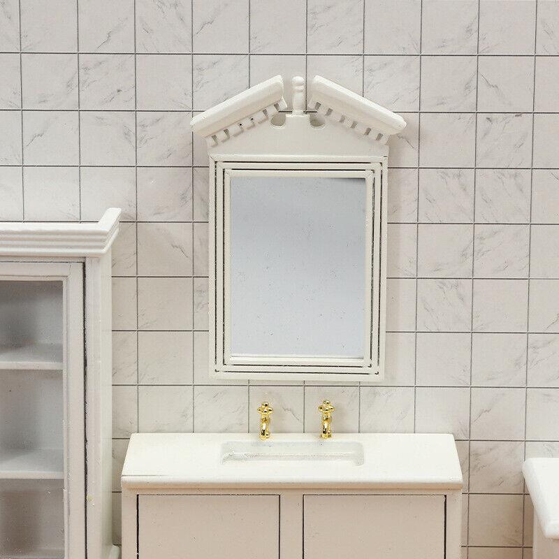 1:12 Dollhouse Mini Home Bathroom Scene Accessoryminiature White Frame Mirror