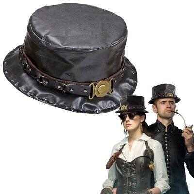 STEAMPUNK ZYLINDER schwarz Damen & Herren Gothic Retrolook Kostüm Hut #6164 ()
