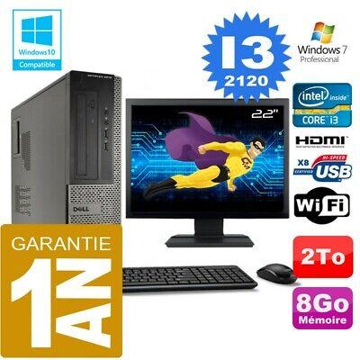 PC DELL 3010 DT Core I3-2120 Ram 8Go Disque 2 To Wifi W7 Ecran 22