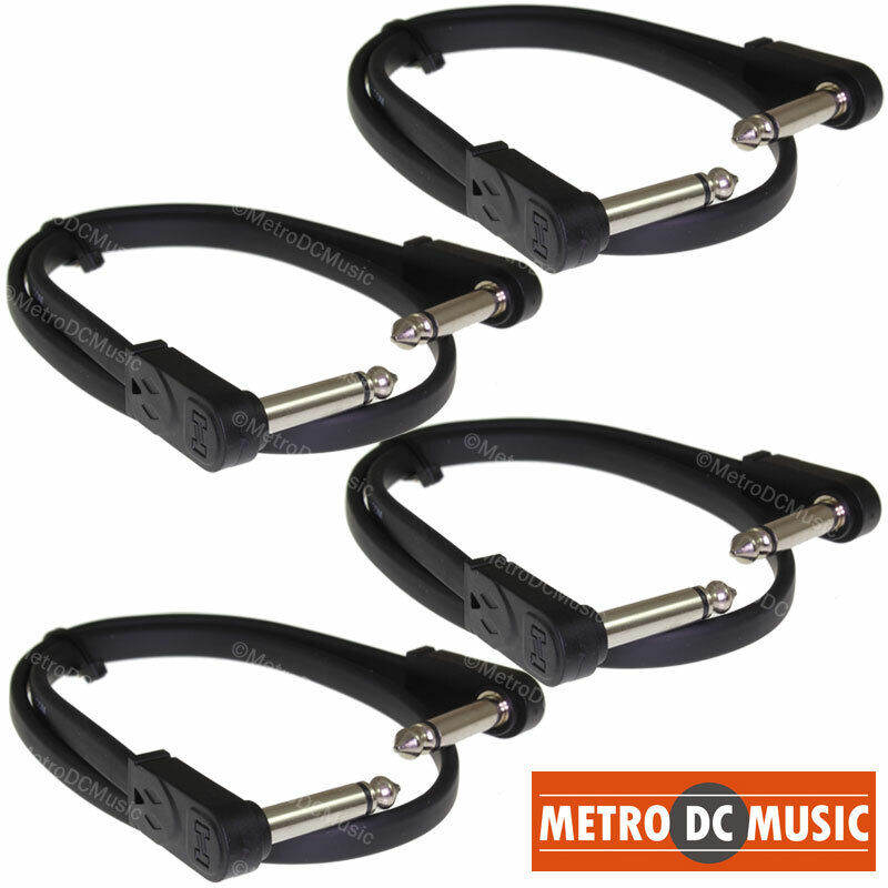 """4-Pack Hosa 18 inch Flat Patch Pedal Cable 1/4"""" Nickel Right-Angle Low Profile"""