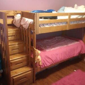 Kids bunkbed with staircase and dresser